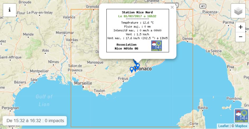 Capture d'écran nouveau site, nouvelle carte des stations du réseau